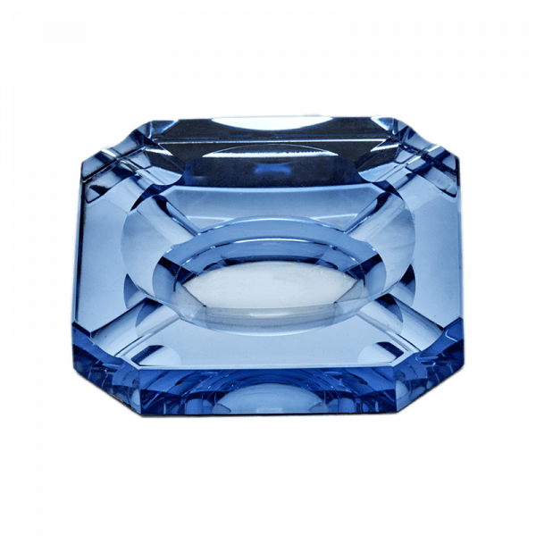 Small Blue Vintage Mirrored Glass Ashtray