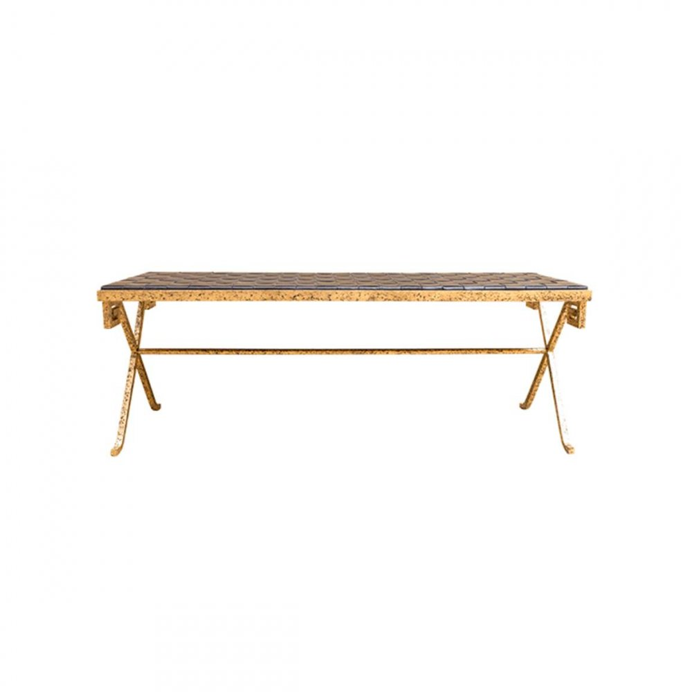Black and Gold Moroccan Bench