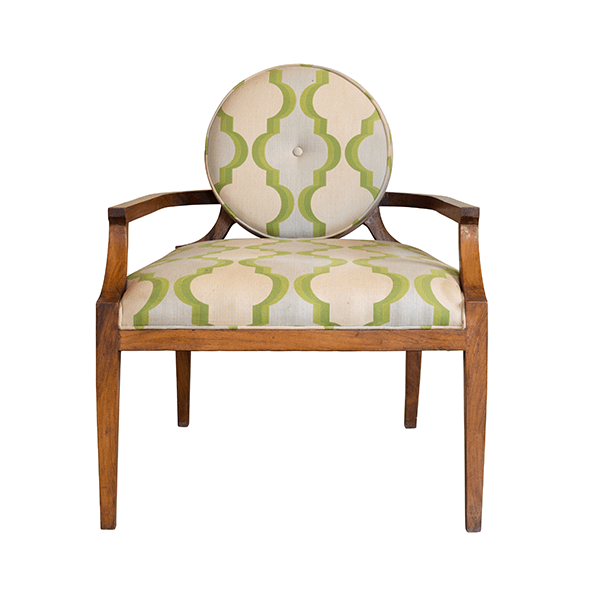 Large Vintage-Style Armchair in Green and Wood