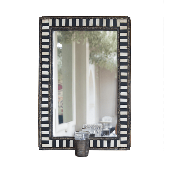 Metal Wall Mirrors with Candle Holders, Set of 3