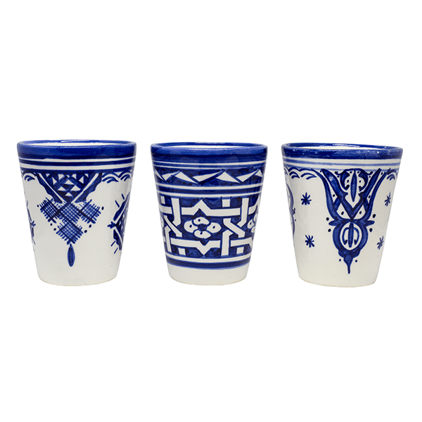 White and Blue Oriental Cups, Set of 10