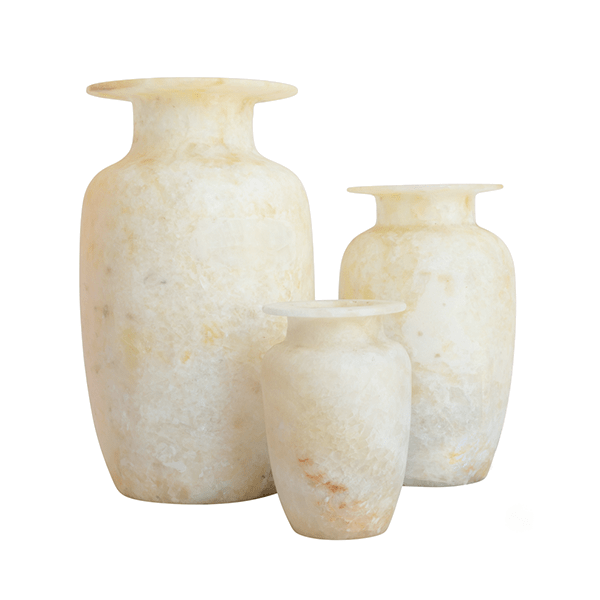 Alabaster Urn Vases, Set of 3