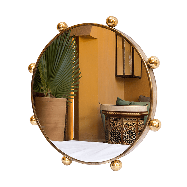Large Hammered Brass Metal Wall Mirror