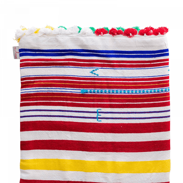 Multicolour Striped Moroccan Cotton Throw