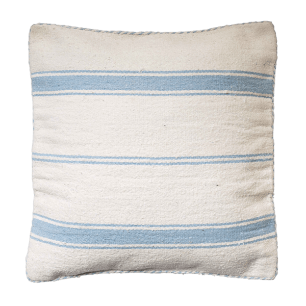 Light Blue Cotton Striped Cushion