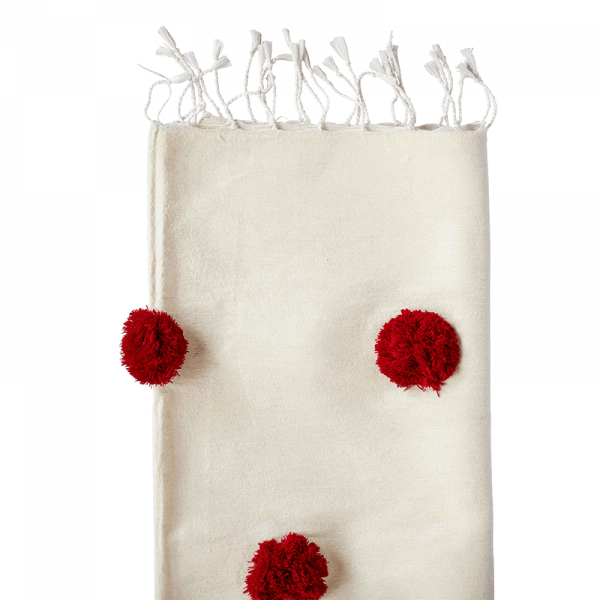 Red and White Cotton Pom Pom Throw