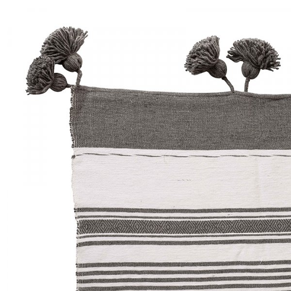 Grey Moroccan Pom Pom Throw
