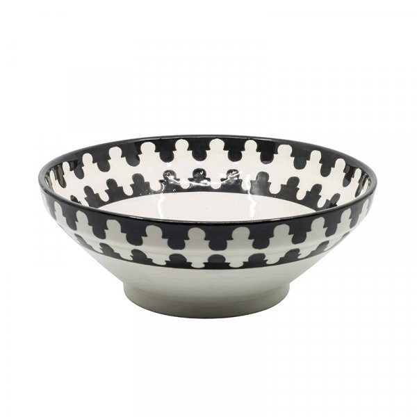 Black and White Moroccan Salad Bowl
