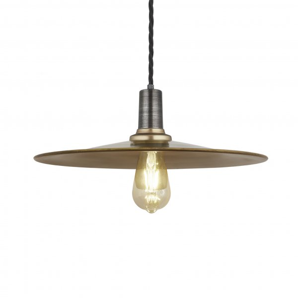 Sleek Flat Brass 15 Inch Pendant