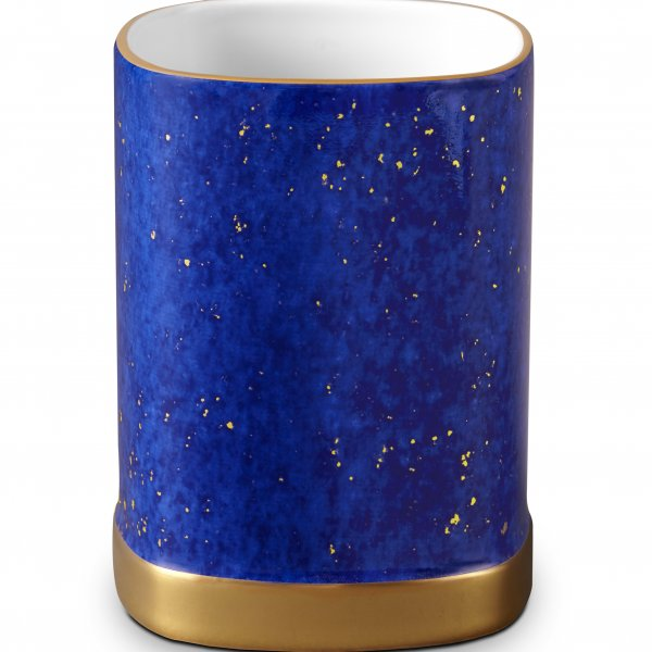 Lapis Pencil Cup with Hand-Gilded 24K Gold
