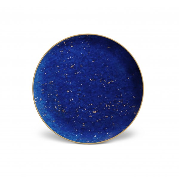 Lapis and Gold Canape Plates, Set of 4