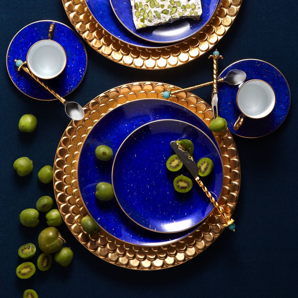Lapis and Gold Espresso Cup + Saucer, Set of 6