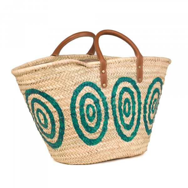 Kyklos Green Basket with Leather Handles