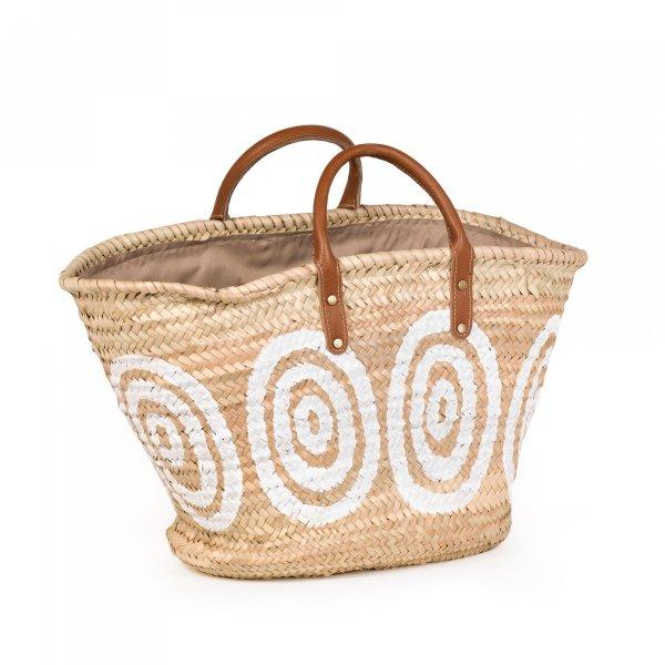 Kyklos White Basket with Leather Handles