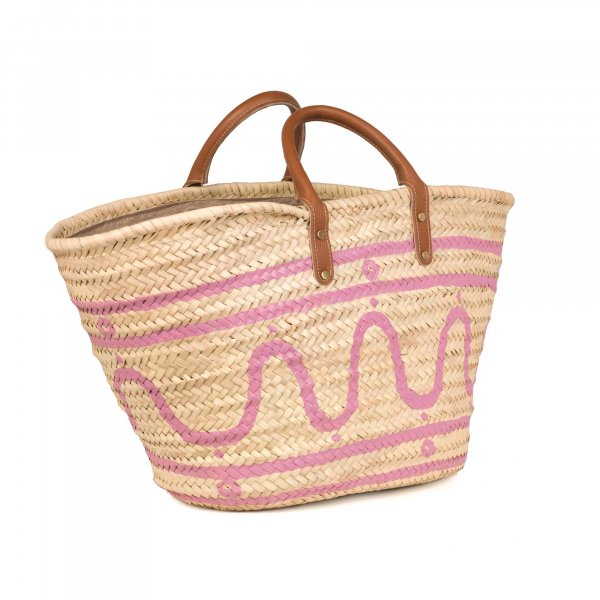 Kyma Pink Basket with Leather Handles