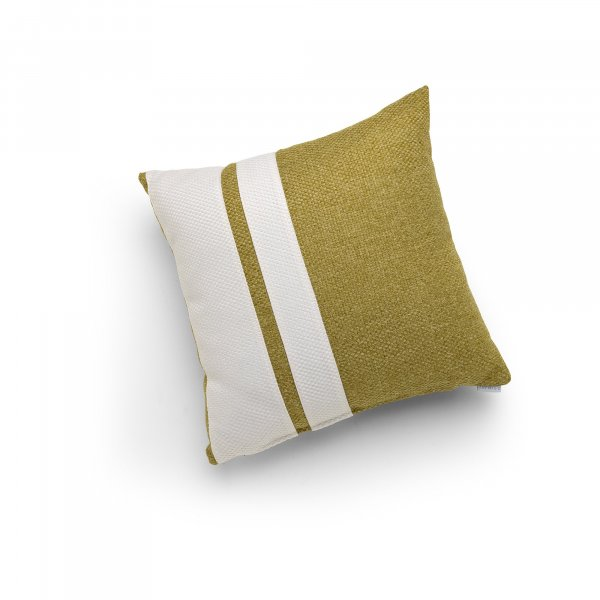 Linen Green and White Double Pillar Cushion