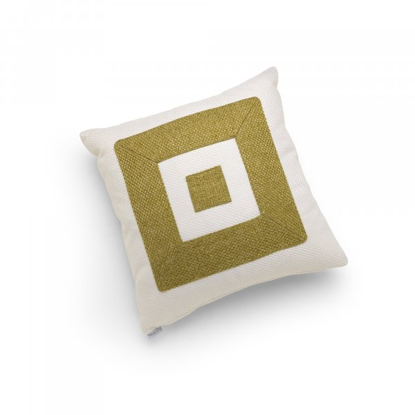 Linen White and Green Infinity Cushion