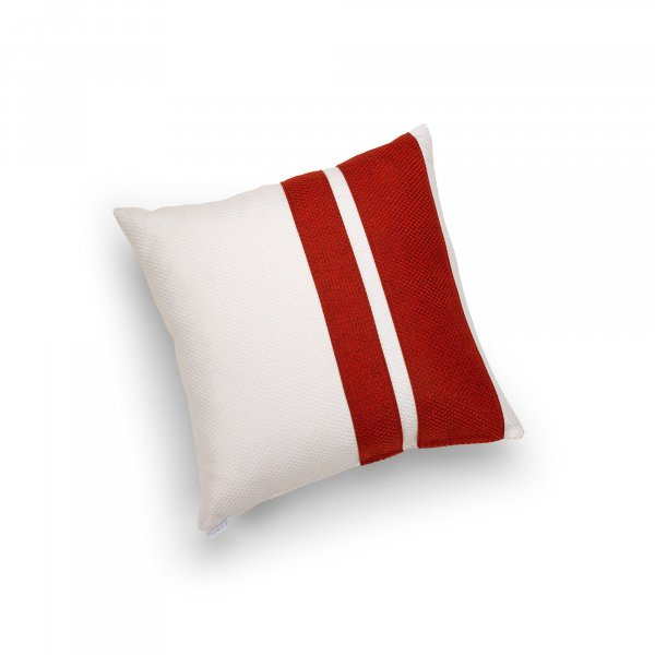 Linen White and Red Double Pillar Cushion