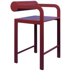 Red Cylinder Back High Arm Chair
