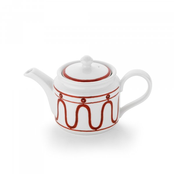 Serenity Burgundy on White Teapot