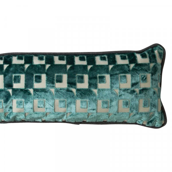 Long Blue Striped Cushion in Cotton