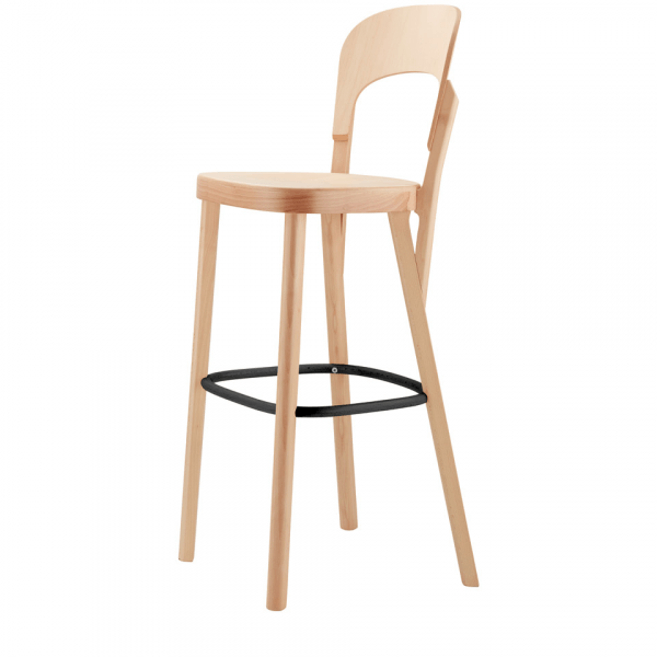 Barstool with Solid Wood and Steel Ring 107H