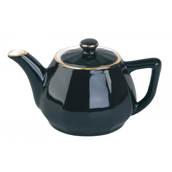 Black with Gold Band Teapot