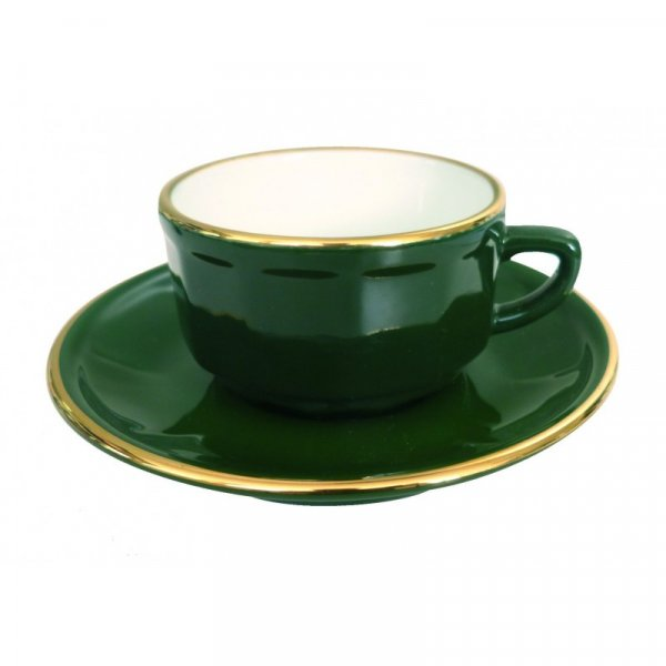 Green with Gold Band Mocha Cup and Saucer, set of 6