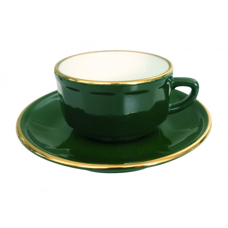 Green with Gold Band Tea Cup and Saucer, set of 6