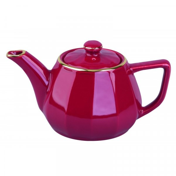 Red with Gold Band Teapot