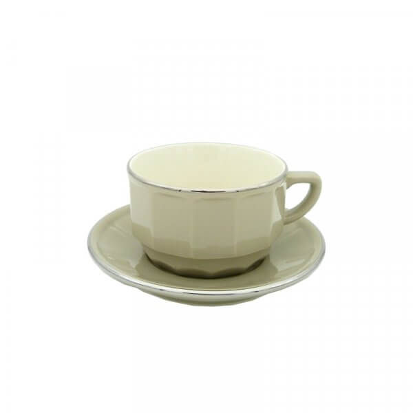 Taupe with Platinum Band Chocolate Cup and Saucer, Set of 6