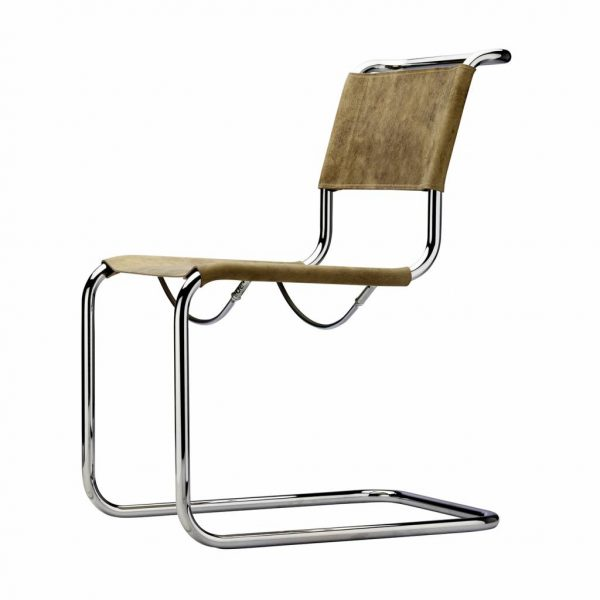 Cantilever Chair in Steel Frame and Leather S33 Pure Materials