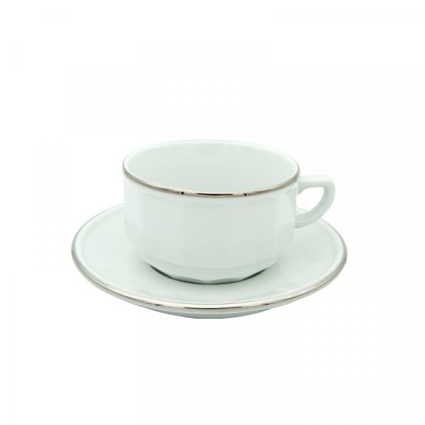 White with Platinum Band Lunch Cup and Saucer, set of 6