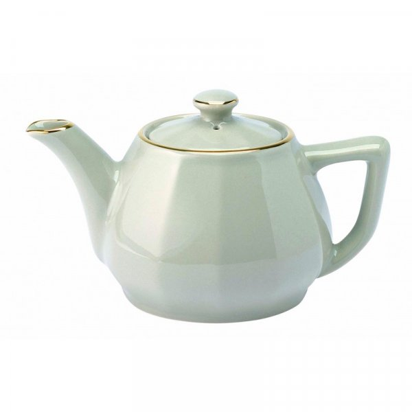 White with Gold Band Teapot