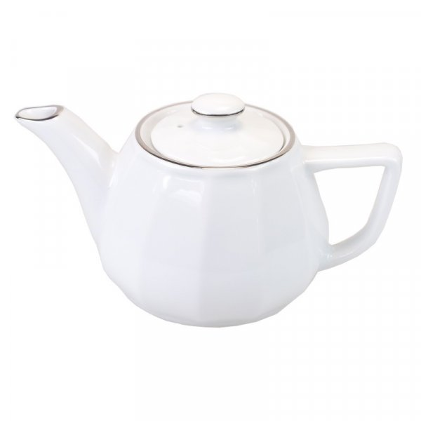 White with Platinum Band Teapot