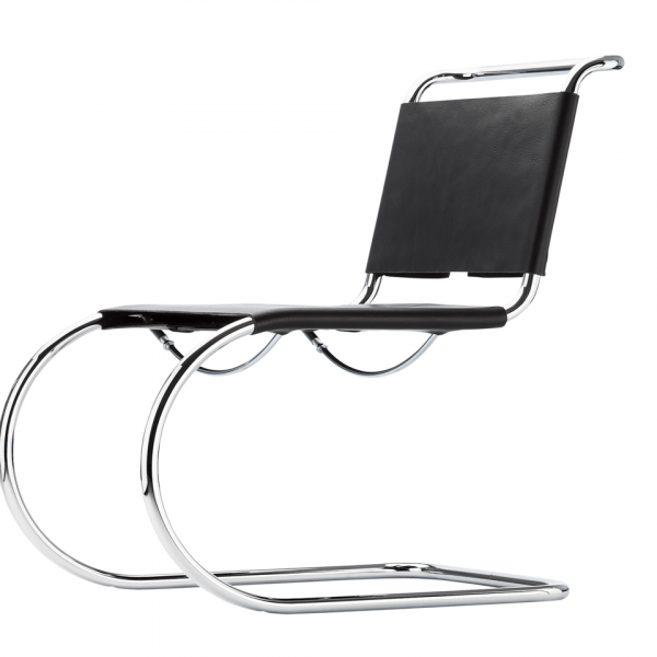 Tubular Steel Cantilever Chair in Black Leather S 533 L