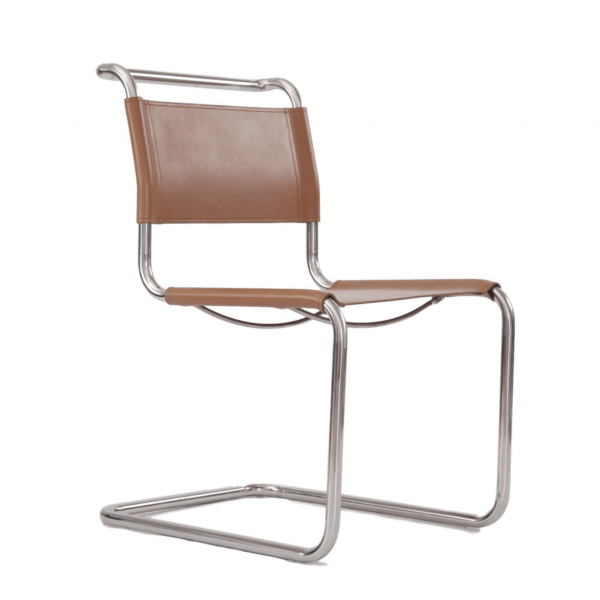 Cantilever Chair in Steel Frame and Brown Leather S33