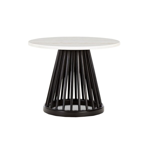 Fan Table Black Base White Marble Top