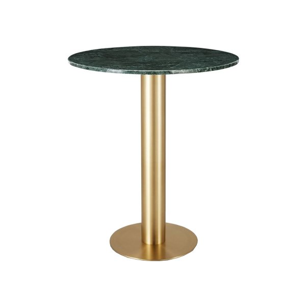 Tube High Table Brass Green Marble Top 900mm
