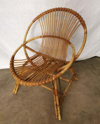Vintage Rattan Easy Chair 1950s