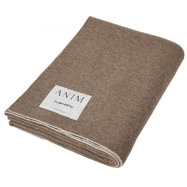 Beige / Tabac Cashmere Mix Double Face Throw