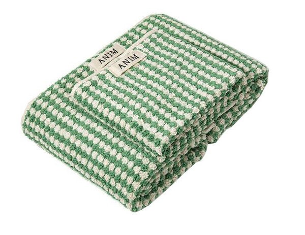 Green Checked Terry Towel Set