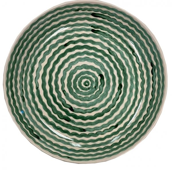 Green Squiggle Serving Bowl
