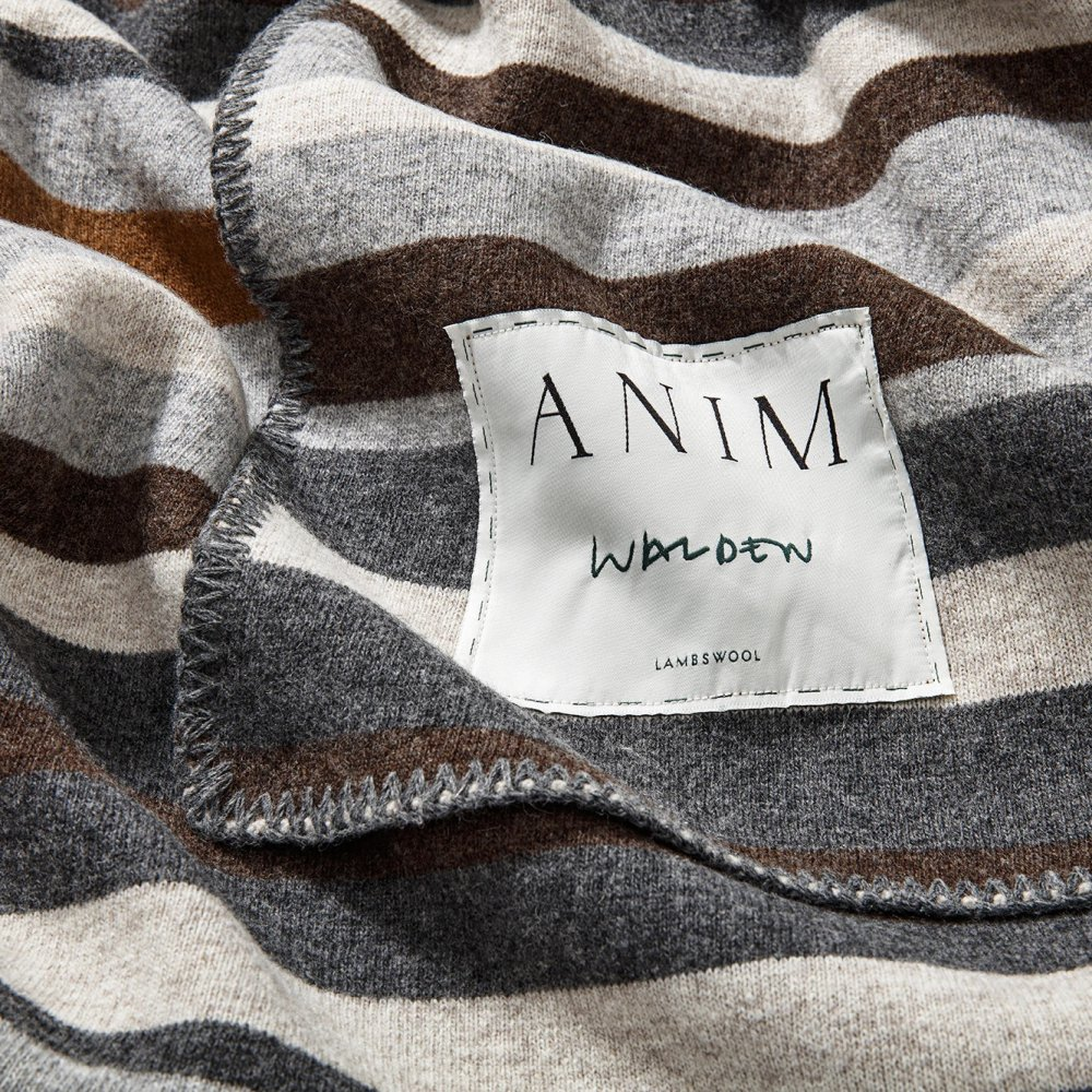 Grey Multicolor Walden Striped Lambswool Bed Throw