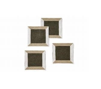 Khaki Linen Strap Coaster, Set of 4