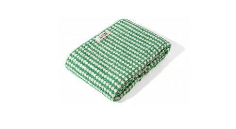 Green Checked Terry Bath Towel