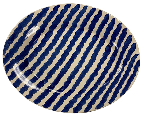 Cobalt Squiggle Serving Platter