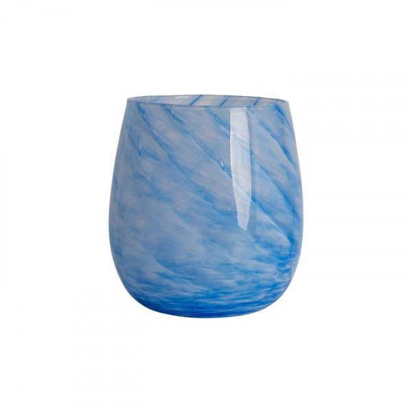 Royal Blue Short Candy Swirl Handblown Italian Glass