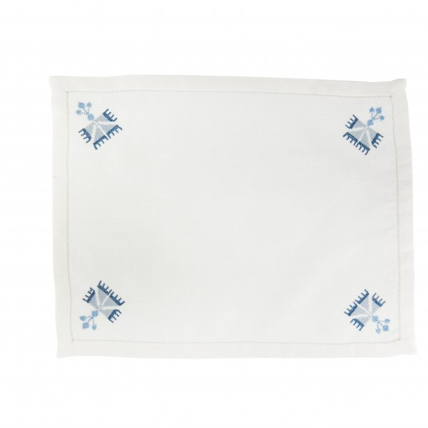 Ottoman Carnation Placemat Navy Blue