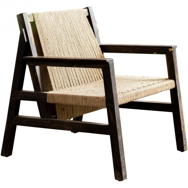 SK Collection Wooden Lounge Chair with Armrest